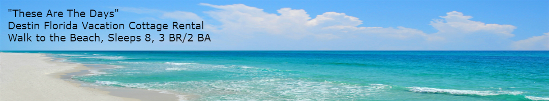 Destin Vacation Cottage Rental Beach Header These Are The Days with text